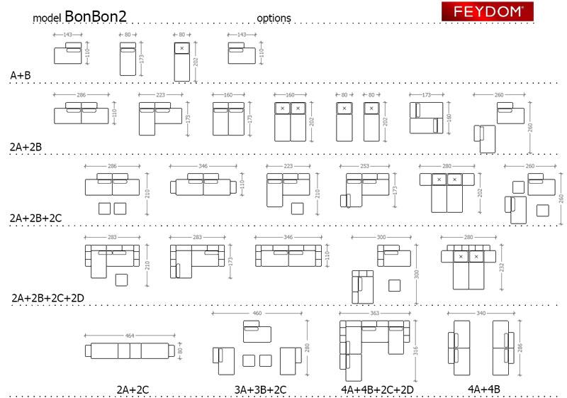 Divano letto feydom bonbon2 arredamenti pjm international for Misure divano ad angolo